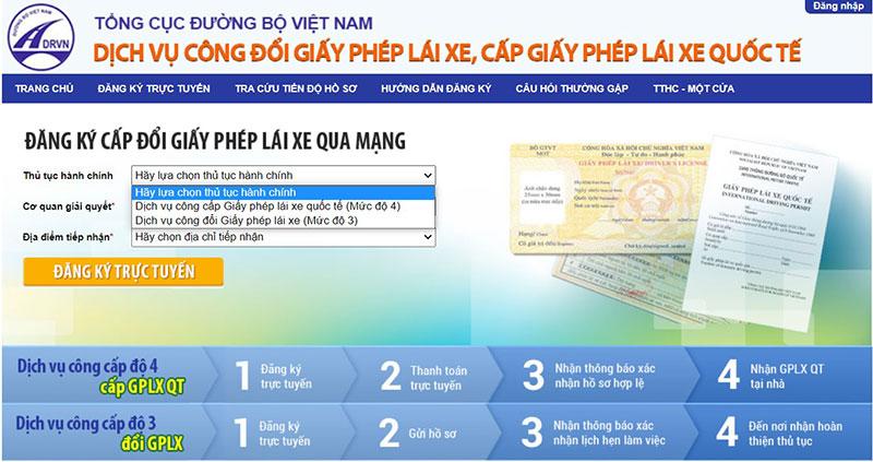 Đổi bằng lái xe quốc tế tại Việt Nam online