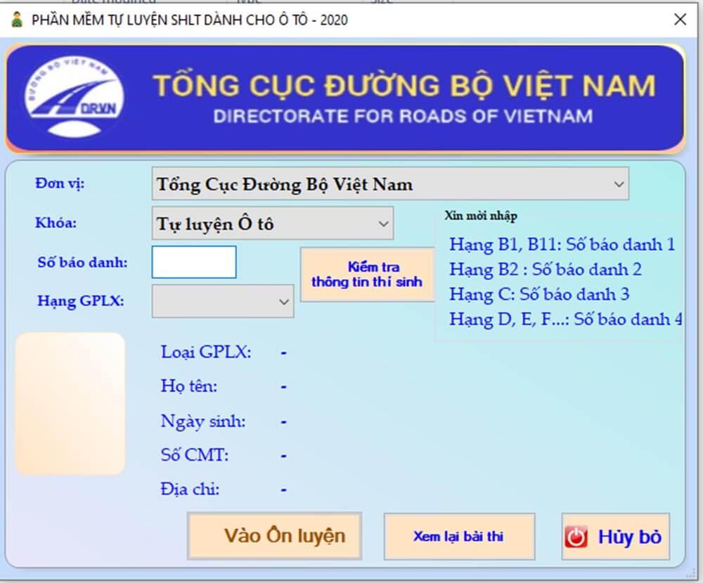 Phần mềm ôn thi của Tổng cục Đường bộ Việt Nam